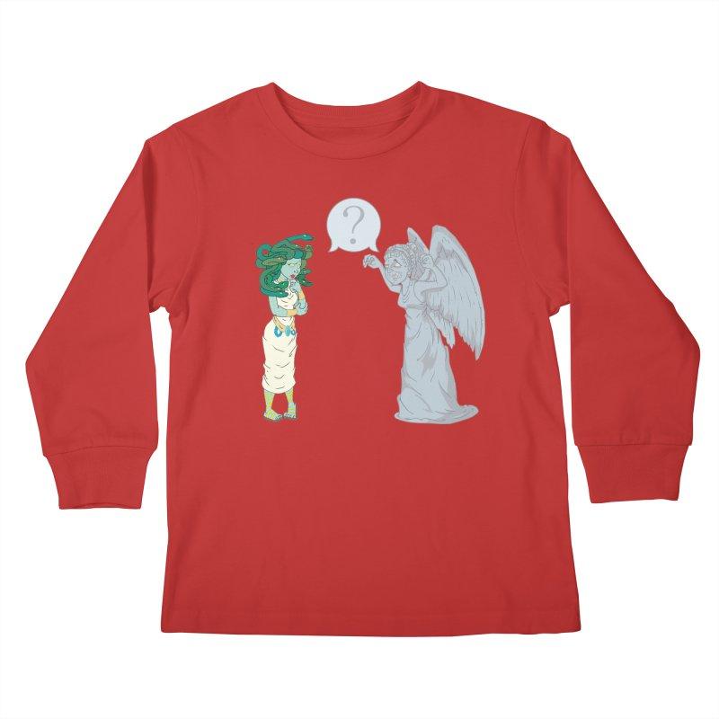 Medusa Vs. Weeping Angel Kids Longsleeve T-Shirt by Inspired Human Artist Shop