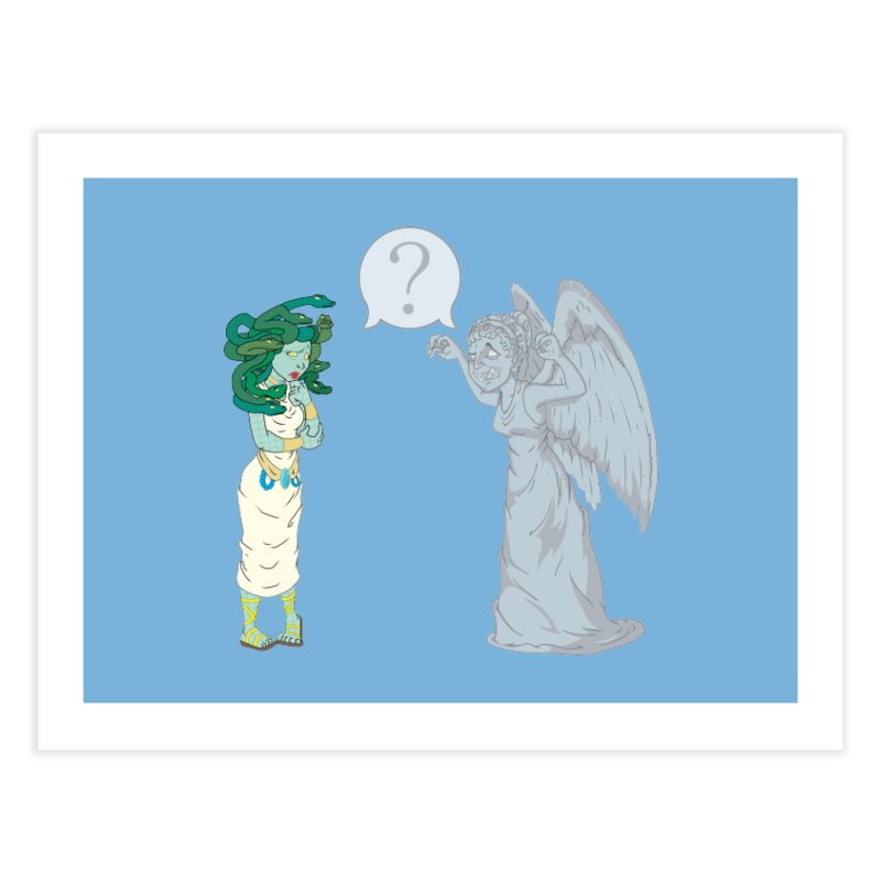 Medusa Vs. Weeping Angel Home Fine Art Print by Inspired Human Artist Shop