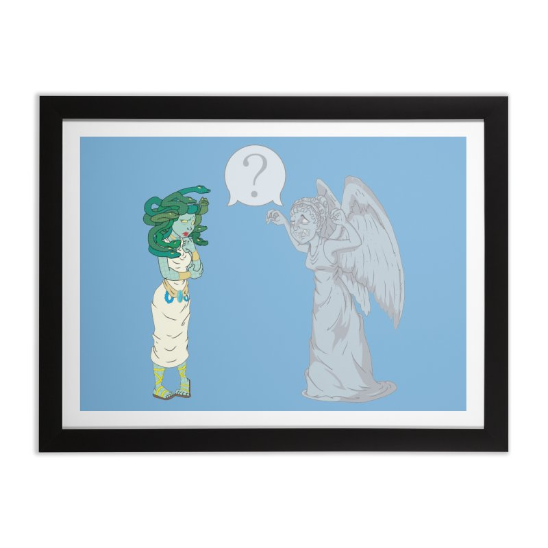 Medusa Vs. Weeping Angel Home Framed Fine Art Print by Inspired Human Artist Shop