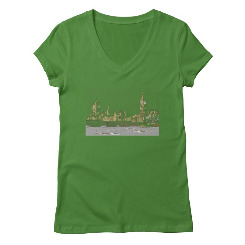 Sketchy Town Women's V-Neck by Inspired Human Artist Shop