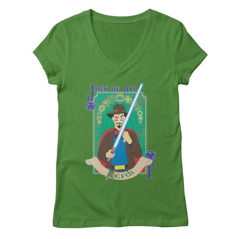 Jack of All Nerds Women's V-Neck by Inspired Human Artist Shop