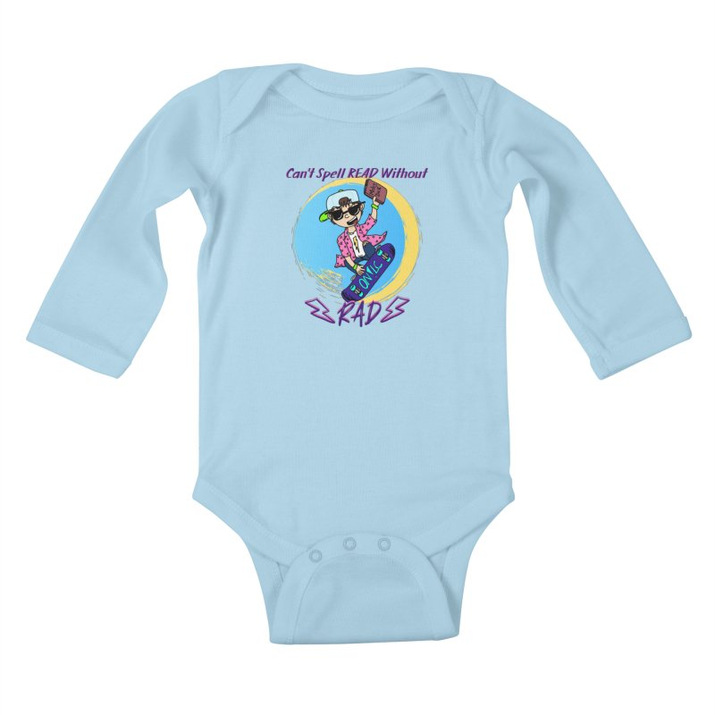 Reading is Radical! Kids Baby Longsleeve Bodysuit by Oh No! Lit Class Store
