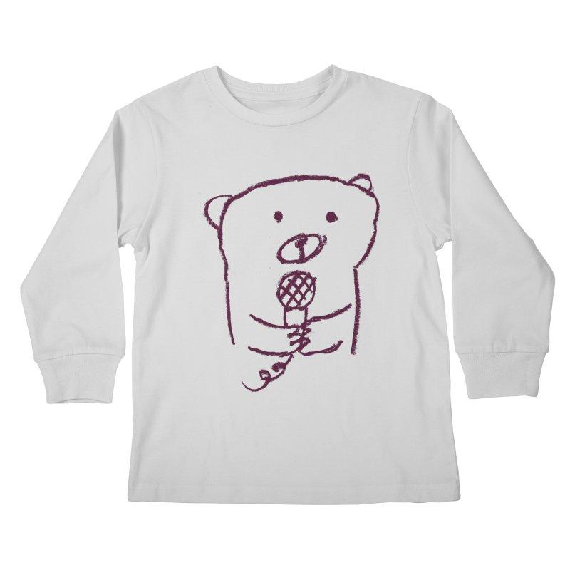 Rock Bear Kids Longsleeve T-Shirt by Ohufu