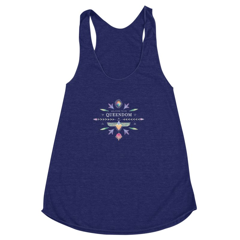 QUEENDOM color on dark Women's Racerback Triblend Tank by OH YEAH by Amalia