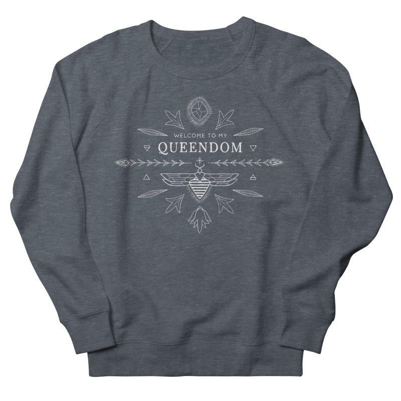 QUEENDOM white on dark Women's French Terry Sweatshirt by OH YEAH by Amalia