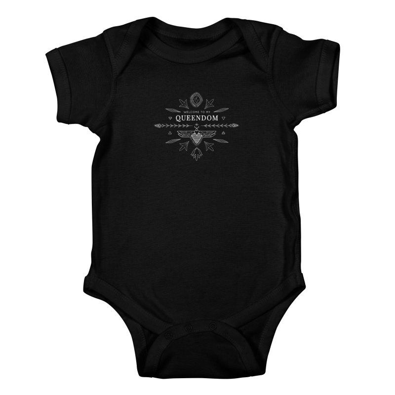 QUEENDOM white on dark Kids Baby Bodysuit by OH YEAH by Amalia
