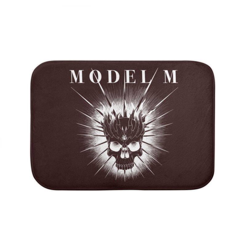 Model M - Evil (white) Home Bath Mat by Oh Just Peachy Studios Music Store