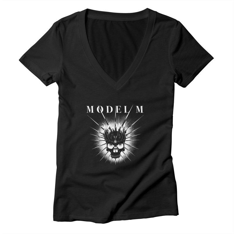 Model M - Evil (white) Women's V-Neck by Oh Just Peachy Studios Music Store