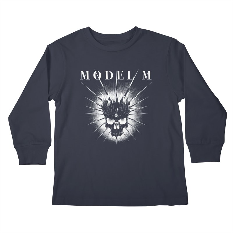 Model M - Evil (white) Kids Longsleeve T-Shirt by Oh Just Peachy Studios Music Store