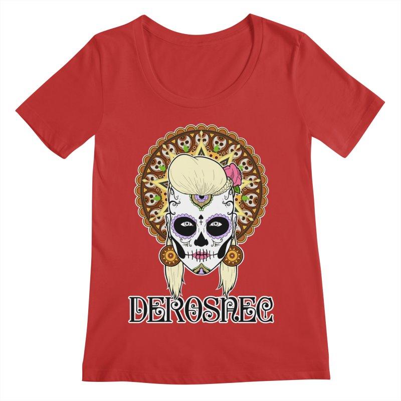 DEROSNEC - Bed of Roses, Muerta (Color) Women's Regular Scoop Neck by Oh Just Peachy Studios Music Store