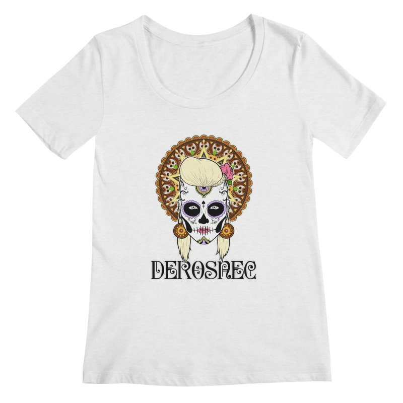 DEROSNEC - Bed of Roses, Muerta (Color) Women's Regular Scoop Neck by Oh Just Peachy Studios Music Store
