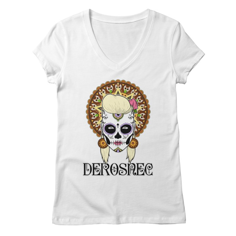 DEROSNEC - Bed of Roses, Muerta (Color) Women's Regular V-Neck by Oh Just Peachy Studios Music Store