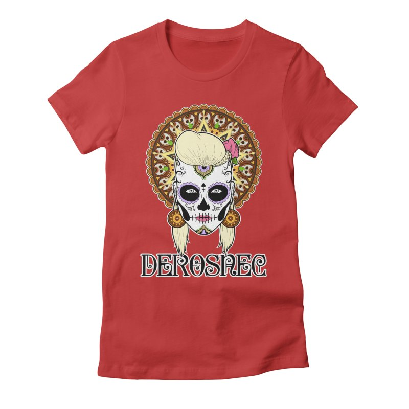 DEROSNEC - Bed of Roses, Muerta (Color) Women's Fitted T-Shirt by Oh Just Peachy Studios Music Store