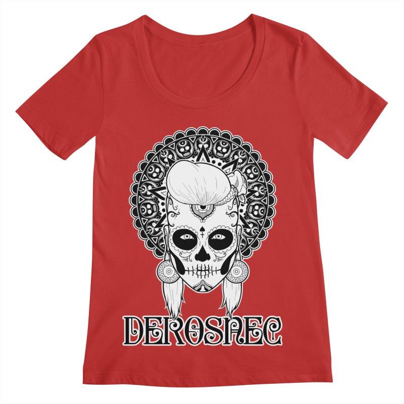 DEROSNEC - Bed of Roses, Muerta (BW) Women's Regular Scoop Neck by Oh Just Peachy Studios Music Store