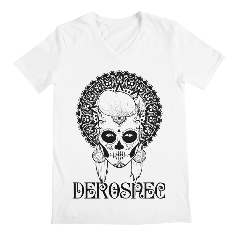 DEROSNEC - Bed of Roses, Muerta (BW) Men's Regular V-Neck by Oh Just Peachy Studios Music Store