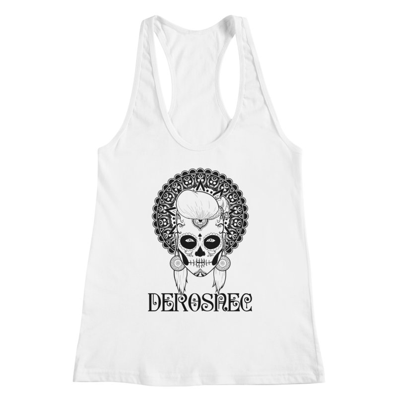 DEROSNEC - Bed of Roses, Muerta (BW) Women's Racerback Tank by Oh Just Peachy Studios Music Store