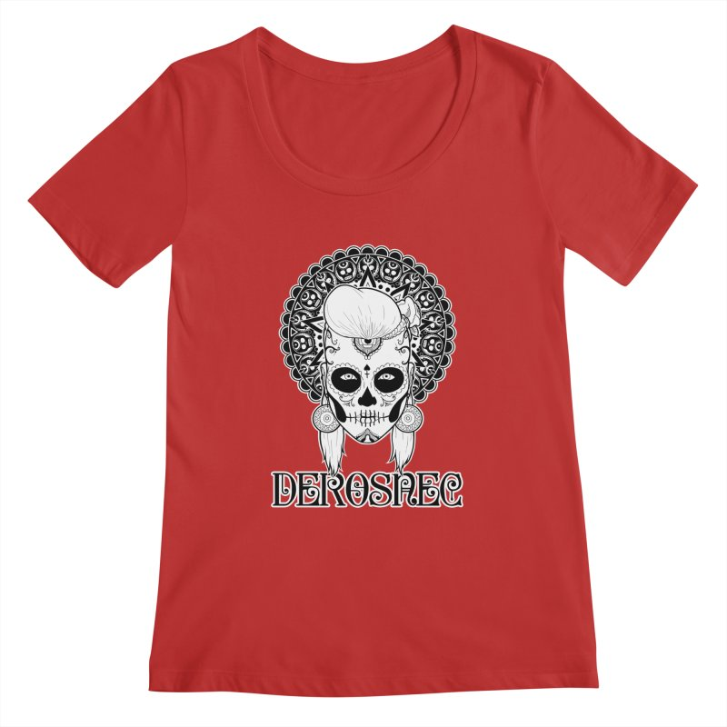 DEROSNEC - Bed of Roses, Muerta (BW) Women's Regular Scoop Neck by Oh Just Peachy Studios Music Store