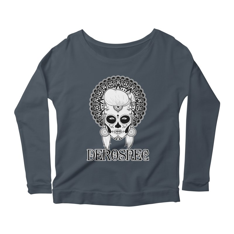 DEROSNEC - Bed of Roses, Muerta (BW) Women's Scoop Neck Longsleeve T-Shirt by Oh Just Peachy Studios Music Store