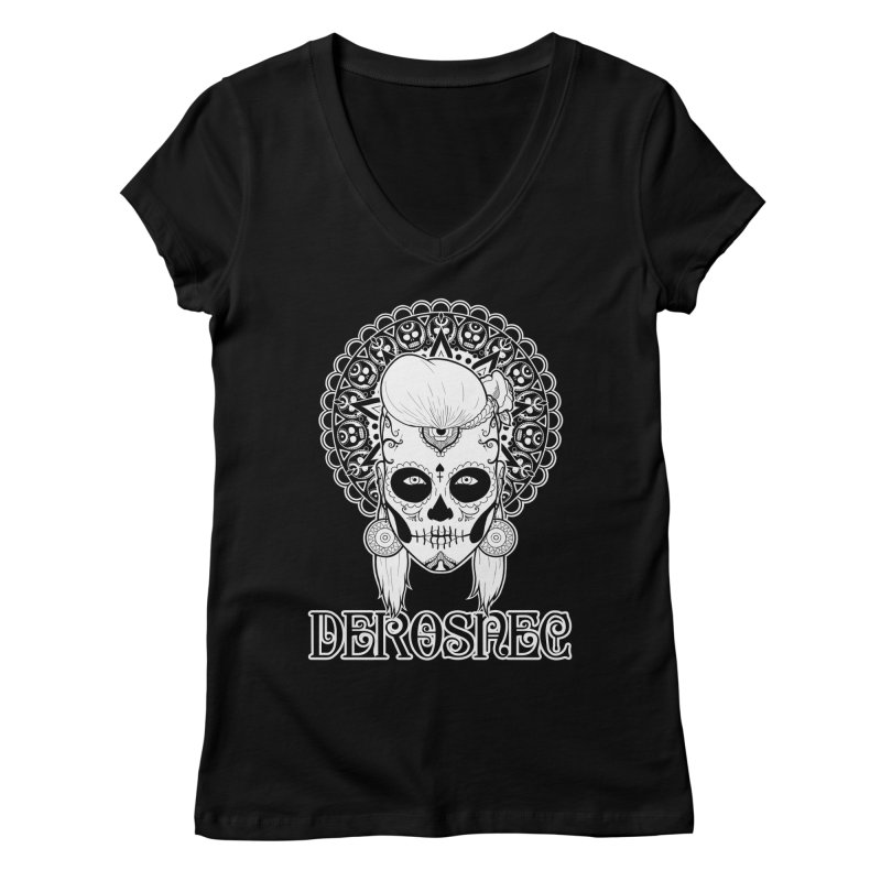 DEROSNEC - Bed of Roses, Muerta (BW) Women's Regular V-Neck by Oh Just Peachy Studios Music Store