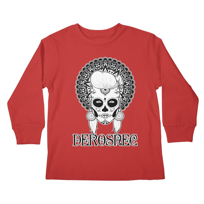 DEROSNEC - Bed of Roses, Muerta (BW) Kids Longsleeve T-Shirt by Oh Just Peachy Studios Music Store