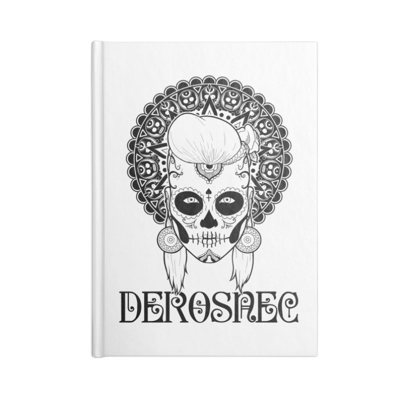 DEROSNEC - Bed of Roses, Muerta (BW) Accessories Blank Journal Notebook by Oh Just Peachy Studios Music Store