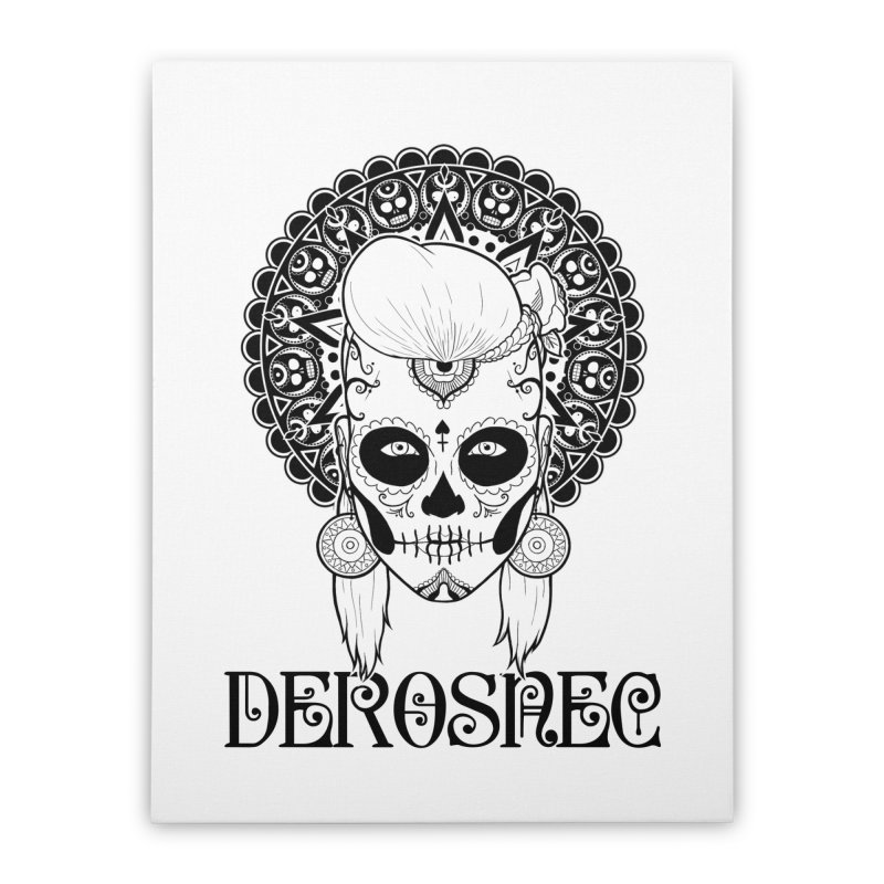 DEROSNEC - Bed of Roses, Muerta (BW) Home Stretched Canvas by Oh Just Peachy Studios Music Store