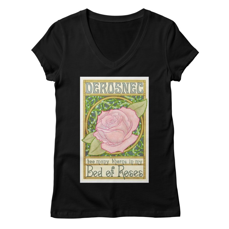 DEROSNEC - Bed of Roses (Color) Women's Regular V-Neck by Oh Just Peachy Studios Music Store