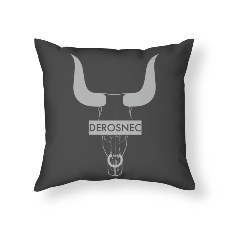 DEROSNEC - Bullheaded Home Throw Pillow by Oh Just Peachy Studios Music Store