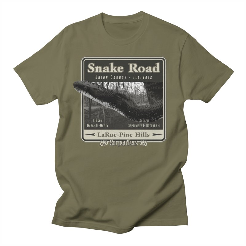 Snake Road in Men's Regular T-Shirt Olive by Drawn to Scales
