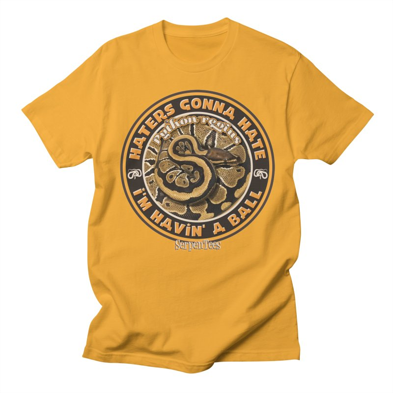Havin' a Ball in Men's Regular T-Shirt Gold by Drawn to Scales