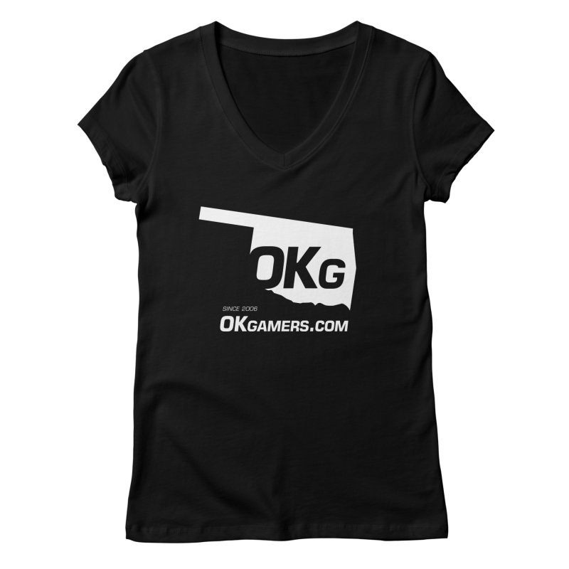 OKgamers.com - Oklahoma Gamers in Women's Regular V-Neck Black by OKgamers's Shop