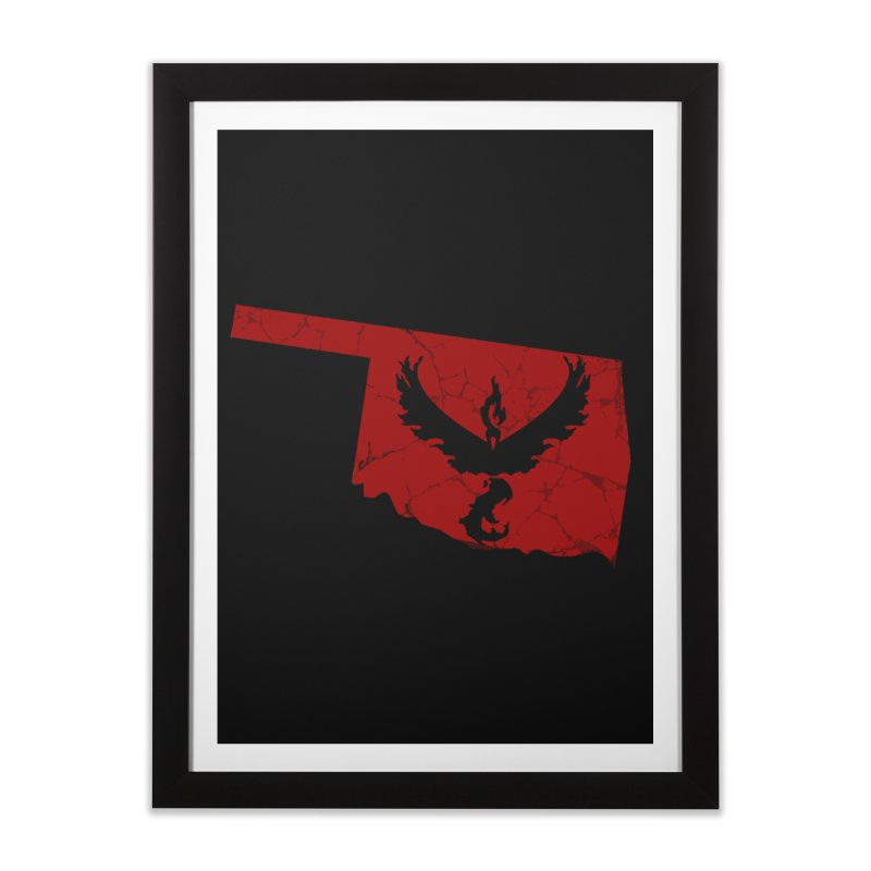 Pokemon Go Oklahoma - Team Valor Home Framed Fine Art Print by Oklahoma Gamers' Shop