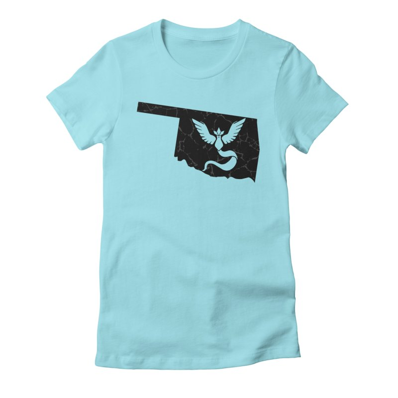 Pokemon Go Oklahoma - Team Mystic (Black) Women's Fitted T-Shirt by Oklahoma Gamers' Shop