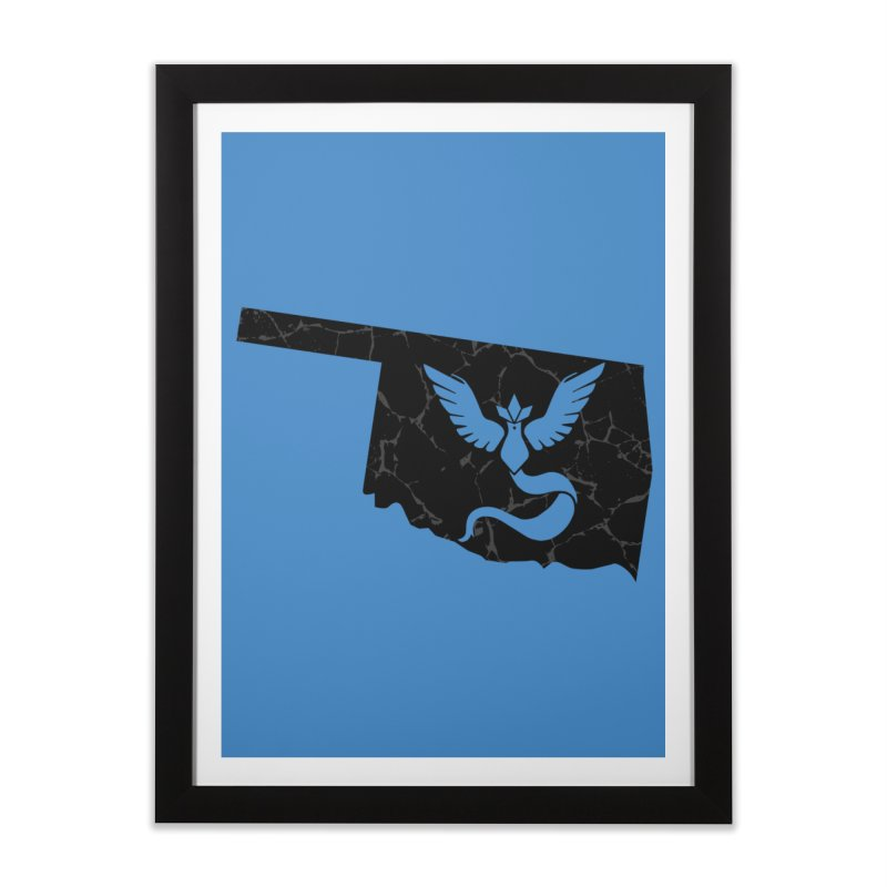 Pokemon Go Oklahoma - Team Mystic (Black) Home Framed Fine Art Print by Oklahoma Gamers' Shop