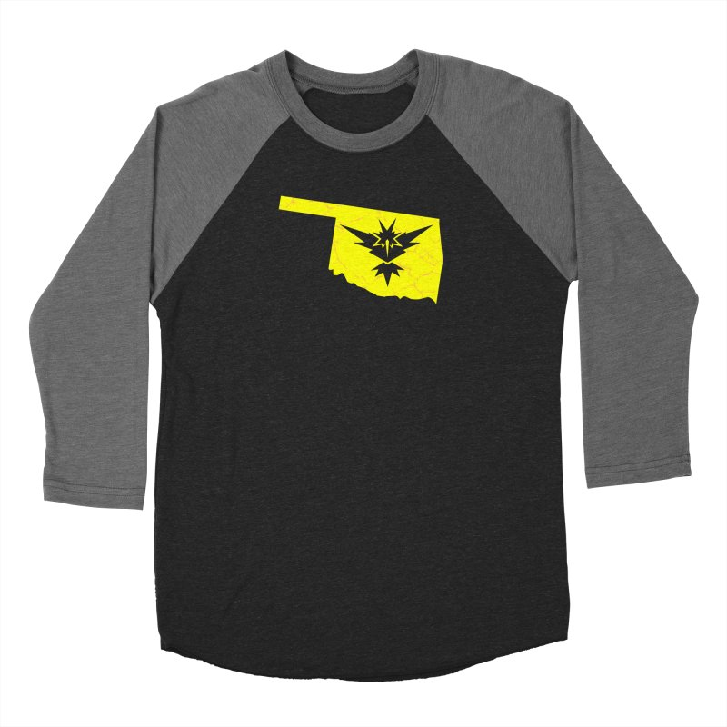 Pokemon Go Oklahoma - Team Instinct in Men's Baseball Triblend Longsleeve T-Shirt Grey Triblend Sleeves by Oklahoma Gamers' Shop
