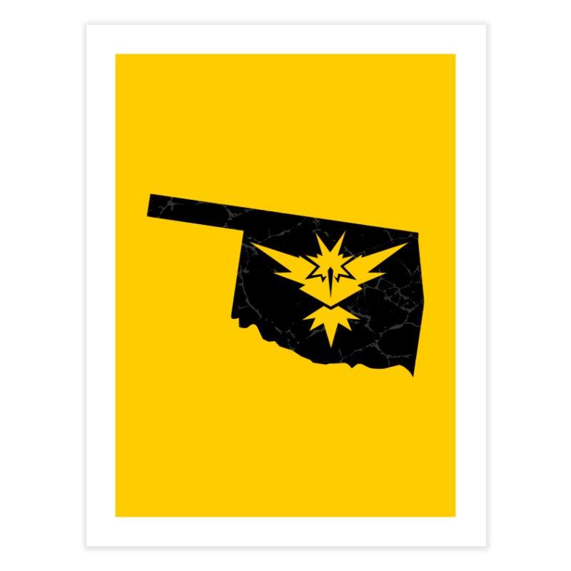 Pokemon Go Oklahoma - Team Instinct (Black) Home Fine Art Print by Oklahoma Gamers' Shop