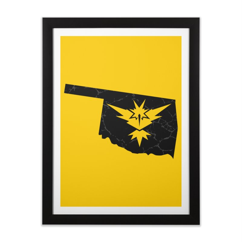 Pokemon Go Oklahoma - Team Instinct (Black) Home Framed Fine Art Print by Oklahoma Gamers' Shop