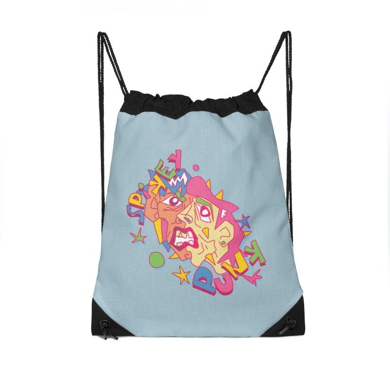 spikey punk Accessories Drawstring Bag Bag by okik's Artist Shop