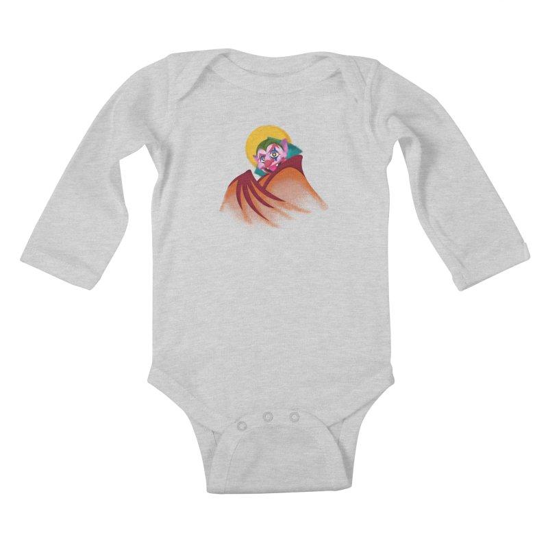 put on the happy fangs Kids Baby Longsleeve Bodysuit by okik's Artist Shop