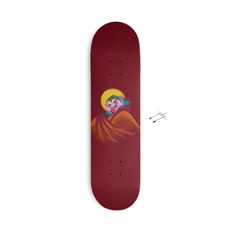 put on the happy fangs Accessories With Hanging Hardware Skateboard by okik's Artist Shop
