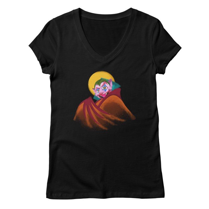 put on the happy happy fangs Women's V-Neck by okik's Artist Shop