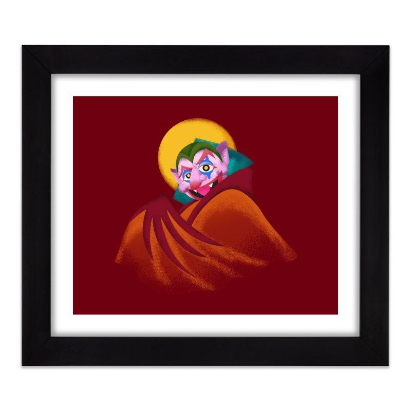 put on the happy happy fangs Home Framed Fine Art Print by okik's Artist Shop
