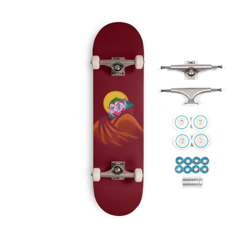 put on the happy happy fangs Accessories Complete - Basic Skateboard by okik's Artist Shop