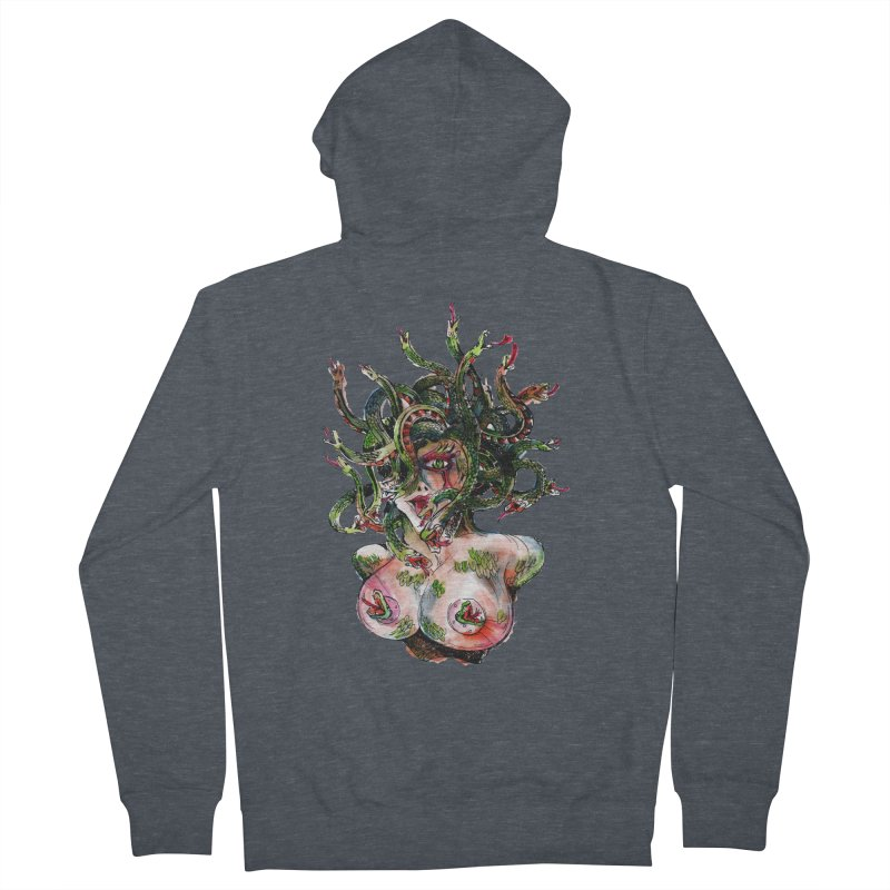 maneater Men's French Terry Zip-Up Hoody by okik's Artist Shop