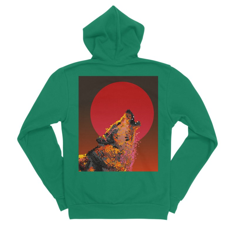 red moon rising Men's Sponge Fleece Zip-Up Hoody by okik's Artist Shop