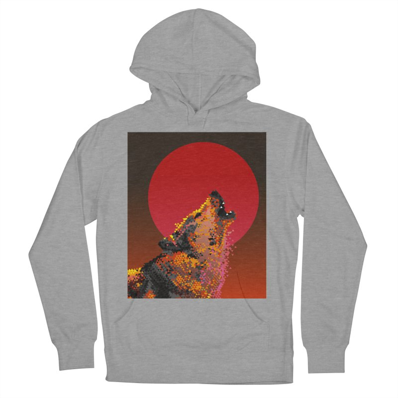 red moon rising Men's French Terry Pullover Hoody by okik's Artist Shop