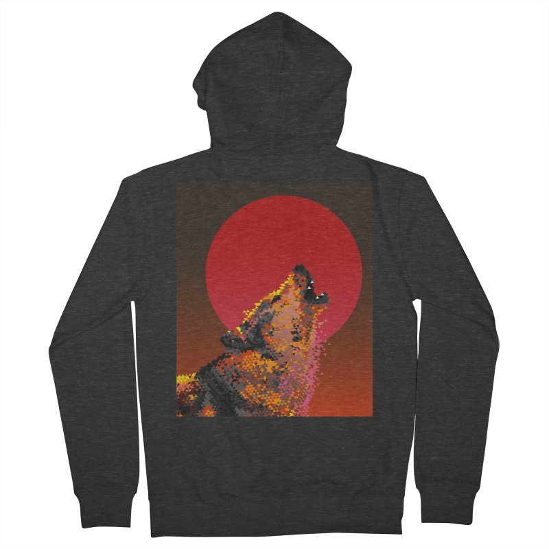 red moon rising Men's French Terry Zip-Up Hoody by okik's Artist Shop