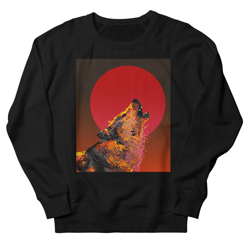 red moon rising Men's French Terry Sweatshirt by okik's Artist Shop