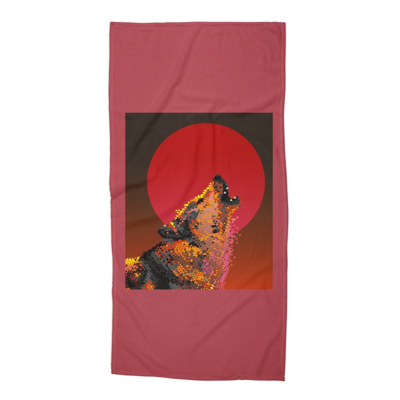 red moon rising Accessories Beach Towel by okik's Artist Shop