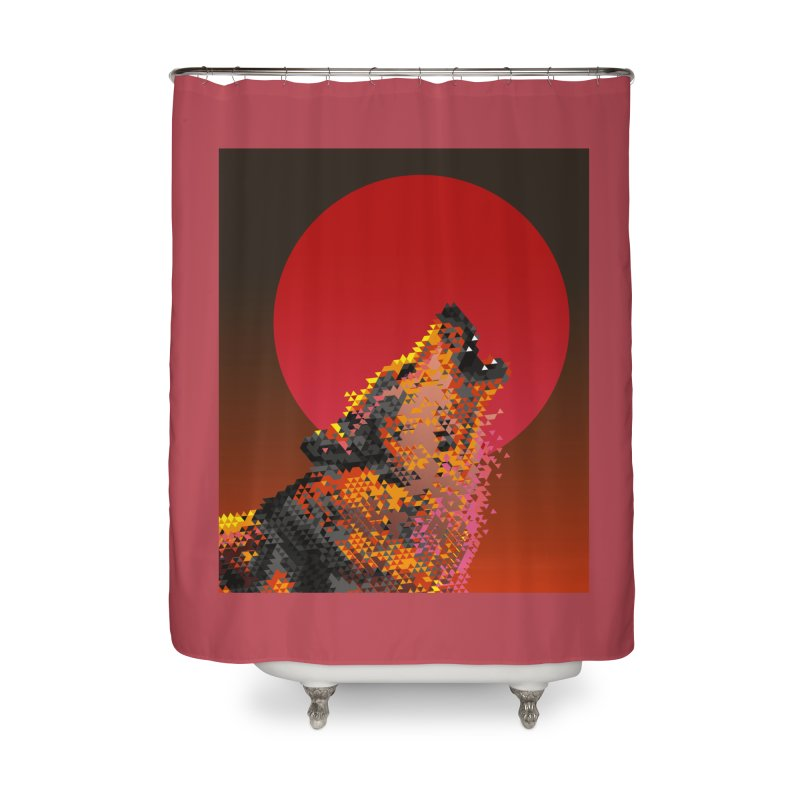 red moon rising Home Shower Curtain by okik's Artist Shop